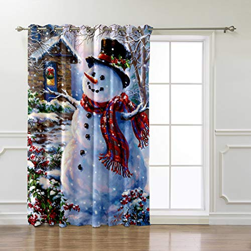 Advancey Room Darkening Blackout Curtains - 1 Panel,Happy Snowman and Cardinals Winter Holiday Merry Christmas Thermal Room Darkening Window Drapes for Bedroom Living Room 52x84 Inch