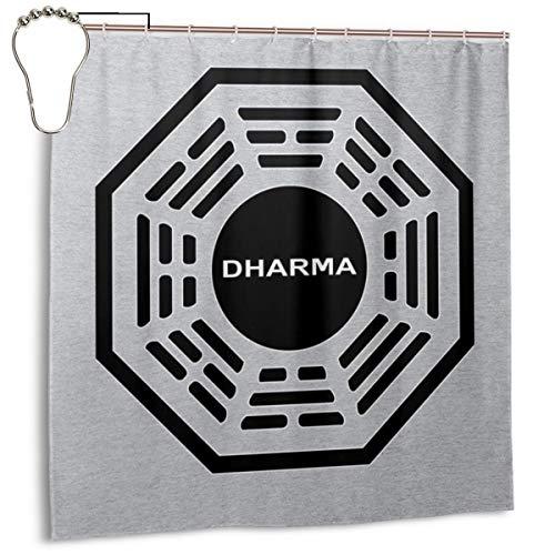 GSEGSEG Cortina de Ducha de Tela de poliéster Impermeable con Logotipo de la Iniciativa Dharma, Cortina de baño Decorativa con Ganchos, 182,88 x 182,88 cm