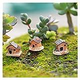 SMchwbc Juego de 3 Mini pequeño Casa de Campo Juguetes Crafts Figura Musgo terrario Hada del jardín Ornamento del Paisaje de la decoración Color al Azar Dollhouse