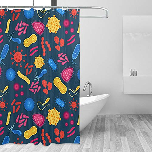 Feim-AO Shower Curtain Funny Cell Under Microscope Shower Curtains Water Repellent Bathroom Bath Curtains Durable Decorative Bathtubs Accessories Easy to Install 60 X 72 Inches