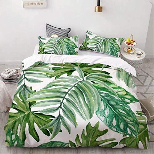 WGLG Double Bed Duvet Sets, Bedding Set 3D Print Blue Parrot Tropical Leaf Cactus Home Textiles Duvet Cover Set And Pillowcase