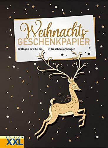 Weihnachts - Geschenkpapier: 10 Bögen, 72 x 52 cm, 21 Geschenkanhänger im Set