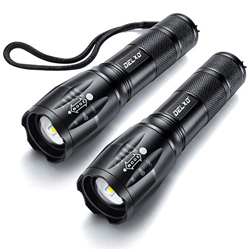 DELXO Flashlights High Lumens, Tactical Flash Light 2 Pack, LED Handheld Flashlights with 5 Modes, Zoomable, Water Resistant, EDC Flashlight for Camping, Outdoor, Emergency, Hiking, Survival
