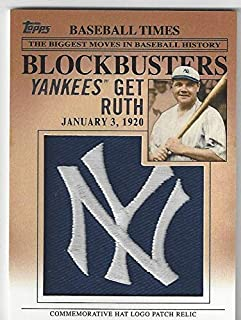 Babe Ruth Commemorative Hat Logo Patch Collectible Baseball Card - 2012 Topps Update Series Baseball Card #BP-15 (New York Yankees) Free Shipping