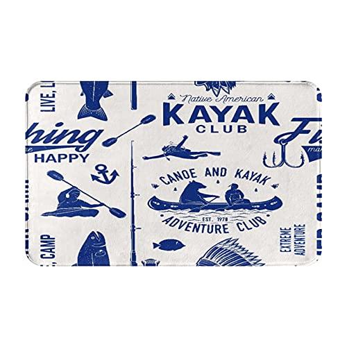 GKGYGZL Alfombras de baño Antideslizantes,patrón de Canoa,Kayak y Club de Pesca,Alfombrilla de baño de Felpa Lavable Extra Suave,alfombras de baño para Ducha