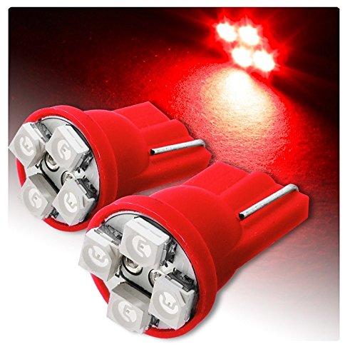 T10 4 SMD Lot de 2 de feux de position à LED pour voiture, Rouge effet xénon, 6000 K 12 V W5W