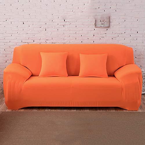 DSHRTY Funda de sofá,Funda elástica para sofá Color sólido en Forma de L Sillón Fundas para sofá Fundas para sofá de 1/2/3/4 plazas para Sala de Estar Fundas deslizantes seccionales, N, Naranja, DOB