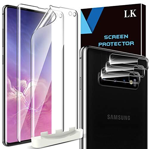 LK 5 Stück Schutzfolie Kompatibel mit Samsung Galaxy S10 Plus, 2 Folie und 3 Kamera Panzerglas, Blasenfreie Weich TPU Displayschutzfolie Vollständige Abdeckung Fingerabdruck-ID unterstützen