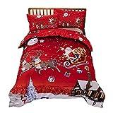 Youngsown 3 Pezzi Copripiumino Natale Set Stampato Babbo Natale Regalo di Natale, 220 * 240cm Copripiumino 1 + 2 Federe
