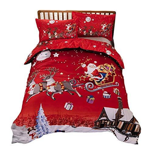 Winnerruby Conjuntos de Ropa de Cama de Navidad, Juego de sábanas con Funda Impresa Papá Noel 3D, 200 x 230 cm / 220 x 240 cm