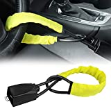 Steering Wheel Lock Seat Belt Lock Security Vehicle Seatbelt Lock Anti-Theft Handbag Lock Fit Most Cars SUV Yellow 2 Keys