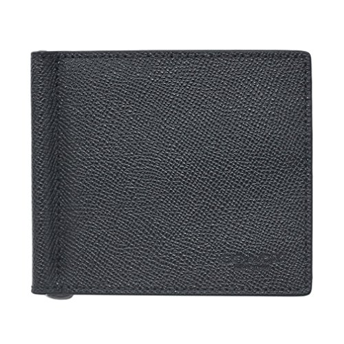 【アウトレット品】 コーチ 財布 F23847-BLK COACH メンズ 二つ折り 札入れ マネークリップ ビルフォールド クロスグレインレザー ブラック