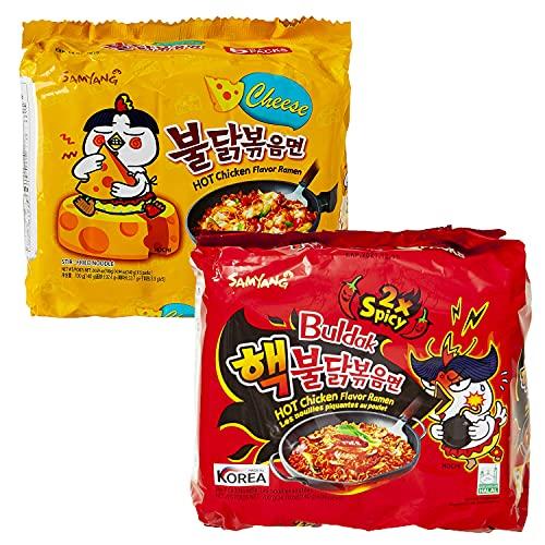 Samyang BULDAK Ramen Combo | Kennenlernbox | 5er Pack Käse & 5er Pack 2x Spicy