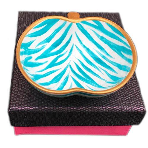 Caroline @ CHH Design Joli Petit Bol Forme Pomme, Vide-Poche, Arts de la Table 'Zèbre Turquoise' Peint à la Main sur Les Deux cotés