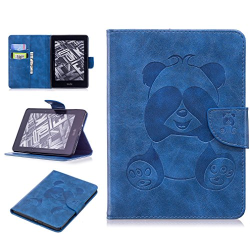 LMAZWUFULM Hülle für Amazon Kindle Voyage 3G (6,0 Zoll) PU Leder Ultra Dünn Magnetverschluss Lederhülle Panda Muster Ledertasche Flip Cover für Amazon Kindle Voyage Tablet-PC Blau