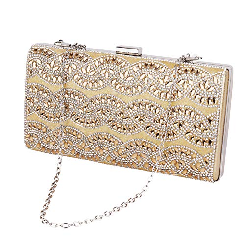 iXpro Women Beaded Evening Handbags With Handle Metal Diamonds Clutch Chain Shoulder Bags Ball Design Party Dinner Bags