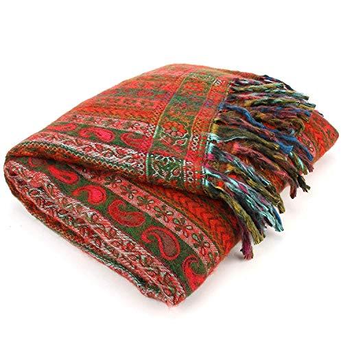 Toosha Jaal Acryl Wolle Schal Decke - Streifen - Grün & Rot