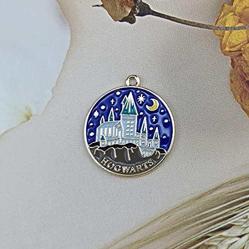 XKMY 10 piezas esmalte castillo encanto día y noche joyería accesorios pendiente pulsera colgante collar encantos aleación de zinc 25 x 27 mm (color metal: noche)