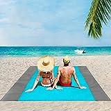 ISOPHO Alfombra de Playa Esterilla Playa, Manta Picnic Impermeable Manta de Picnic 210 X 200cm Manta de Playa con 4 Clavos Fijos, Alfombra de Picnic Bordes Reforzados para la Playa, Camping, y Picnic
