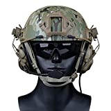 Tactical Earphone Helmet Style with Pickup and Noise Reduction Function Version, with Headphone Communication Function, Military Radio Headphones,C