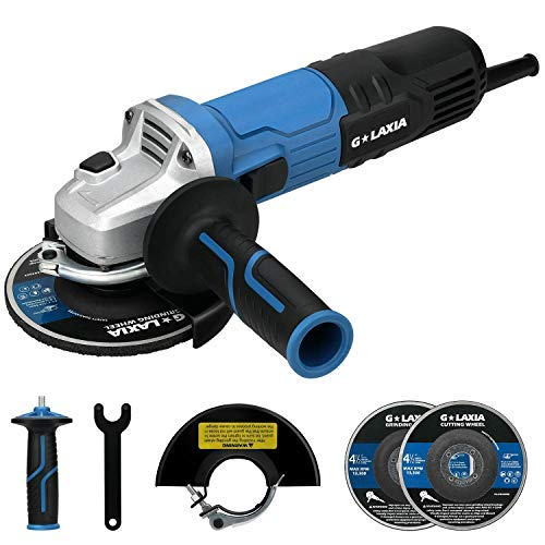 Angle Grinder, GALAXIA 8Amp 4-1/2-inch Grinder Tool, Includes 1pcs Grinding Wheel and 1pcs Cutting Wheel, Side Handle, for Removing Paint & Mortar, Sanding, Cutting, Grinding