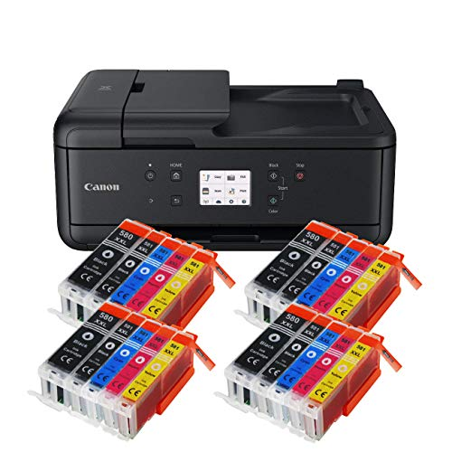 Canon Pixma TR7550 TR-7550 All-in-One Farbtintenstrahl-Multifunktionsgerät (Drucker, Scanner, Kopierer, Fax, USB, WLAN, Apple AirPrint) Schwarz + 20er Set IC-Office XXL Tintenpatronen 580XXL 581XXL
