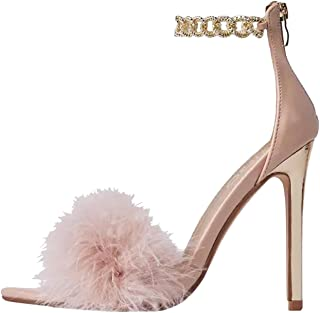 Sandals for Women Casual Summer,Rhinestones Chain Lace Up Ankle Strap High Heel Sandals Sexy Peep Toe Dressy Womens Sandals