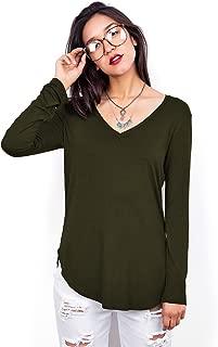 Emmas Closet Women's Basic Long Sleeve V-Neck Top