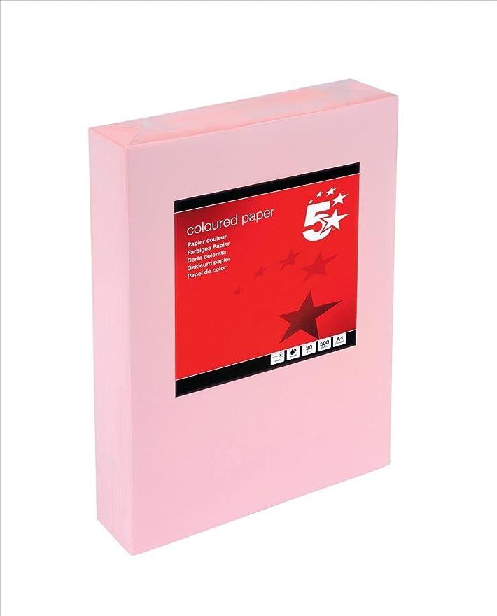 傾く手錠散る(Pink) - 5 Star Coloured Copier Paper Multifunctional Ream-Wrapped 80gsm A4 Pink [500 Sheets]