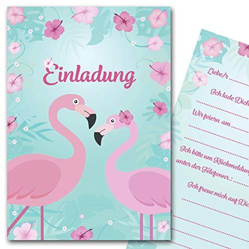 Kreatives Herz Einladungskarten Flamingo zum Kindergeburtstag (10er Set) Einladungen Sommerparty A6 Kinder Party Mädchen (10 Karten m. weißen Umschlägen)