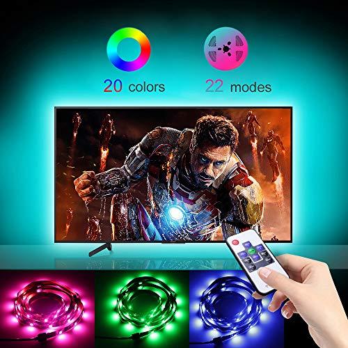 LED Strip Lights for TV,USB Plug-in 8.2ft LED TV Backlight with RF Remote,Color Changing Bias Lighting Kit for 32-60 inch HDTV/Car/Cabinet