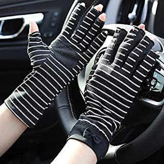 SHENTIANWEI Women's Anti-UV Anti-slip Thin Section Striped Half Finger Sunscreen Gloves (Color : BLACK, Size : One size-Five pairs)