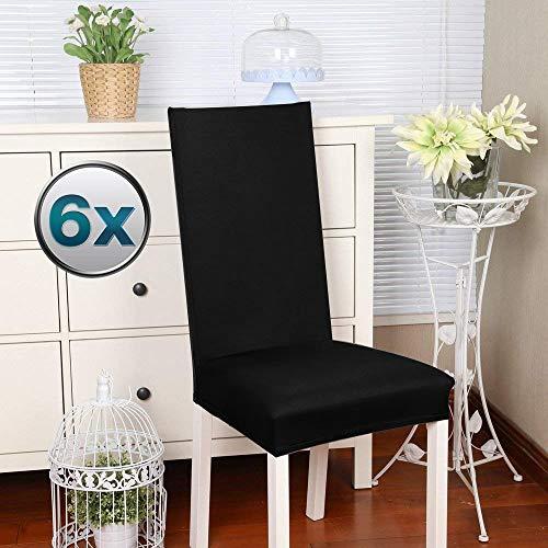 Fundas para sillas Pack de 6 Fundas sillas Comedor Fundas elásticas, Cubiertas para sillas,bielástico Extraíble Funda, Muy fácil de Limpiar, Duradera (Paquete de 6, Negro) - J