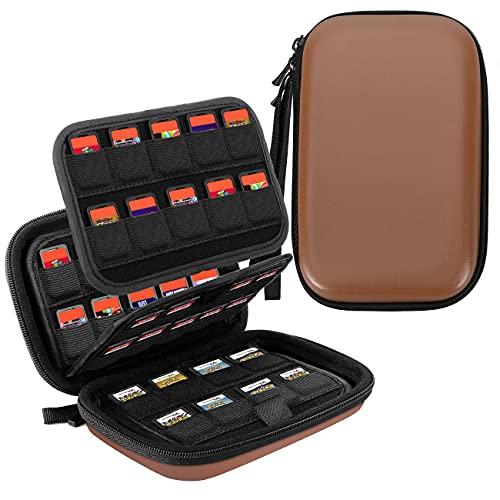 TiMOVO 112 Cartuchos Funda de Juegos para Switch PS Vita Game Cards/SD Memory Cards y 3DS/DS Game Cards, Caja Portátil de Almacenamiento Organizador de Juegos - Marrón