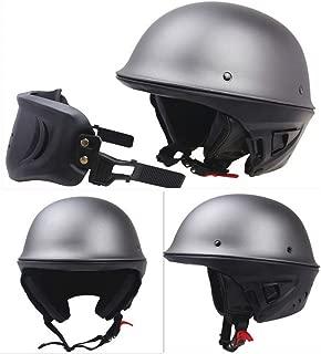 TEQIN Motorcycle Half Helmet Retro Open Face Helmet Bike Skull Cap Helmet Detachable Mask DOT Approved Matte Gray XXL