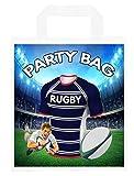 Bolsas de fiesta temáticas de rugby, para regalos, botín, eventos, colores rebeldes (paquete de 6)