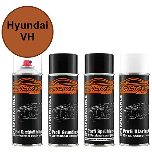TRISTARcolor Autolack Spraydosen Set für Kunststoff Stoßstange für Hyundai VH GK Orange Metallic Haftgrund Grundlack Basislack Klarlack mit Weichmacher Sprühdose