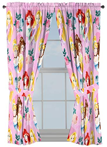 """Disney Princess Sassy 63"""" Inch Drapes 4 Piece Set - Beautiful Room Décor & Easy Set Up, Bedding Features Cinderella & Belle - Window Curtains Include 2 Panels & 2 Tiebacks (Official Disney Product)"""