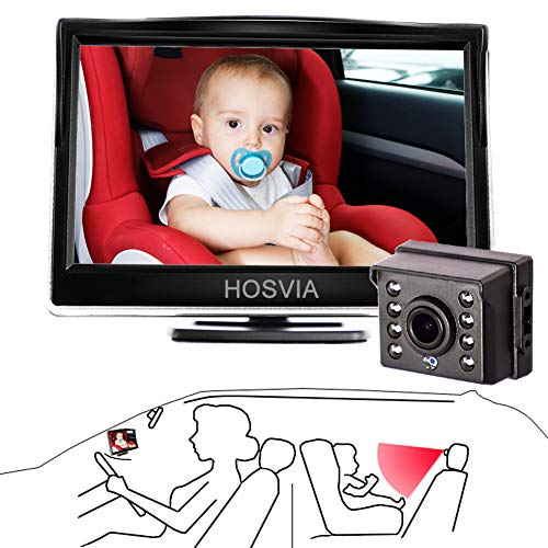Baby Car Mirror, 5''HD Car Mirror Display, Infant Rear View Facing Safety Car Back Seat Mirror, Extra Strong Night Vision Wide View HD Camera Aimed at Baby-Easier to Observe The Baby's Every Move
