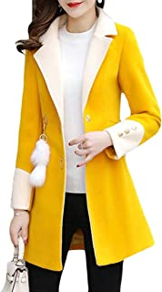 Macondoo Womens Winter Woolen Slim Fit Single Breasted Overcoat Pea Coat Jacket