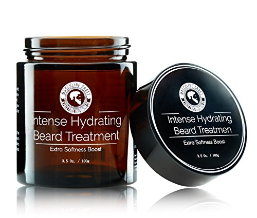 Masculine Craft Co Intense Hydration Beard Treatment - Facial Hair Conditioner, Moisturizer, Straightener, Softener for Men - Argan, Peppermint, Tea Tree, Eucalyptus - Mustache Grooming, Growth Cream