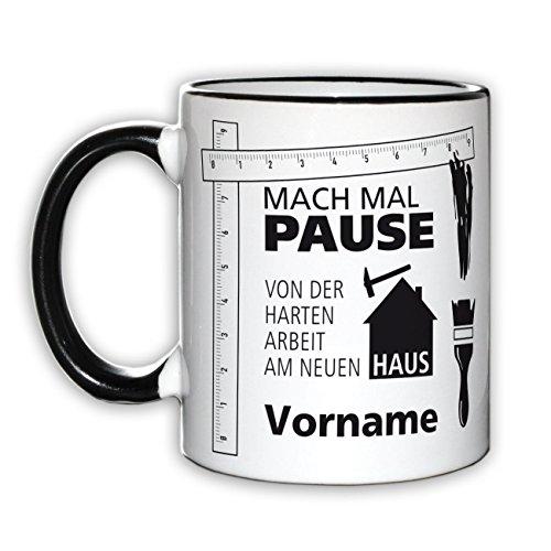Herz & Heim® Kaffeebecher für Bauherren und Bauarbeiter mit Wunschnamen