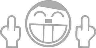 Autoaufkleber Fuck You Face Silber Sticker Tuning Aufkleber JDM Moped Motorrad Simson Car
