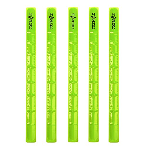 Cosmos Reflective Snap Pop Band Bracelets Pant Cuff Strap for Cycling/Bike/Running/Walking (Neon Yellow x 5 Pcs)