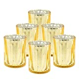 Ella Celebration Mercury Glass Votive Candle Holder 4 inches Tall Speckled Grooved Votives Tealight Holders Set of 6 Centerpiece for Weddings Parties Celebrations Holiday and Home Decor (Gold)