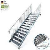 Außentreppe 14 Stufen 120 cm Laufbreite - beidseitiges Geländer - Anstellhöhe variabel von 233 cm bis 280 cm - Gitterroststufe ST2 - feuerverzinkte Stahltreppe mit 1200 mm Stufenlänge als montagefertiger Bausatz