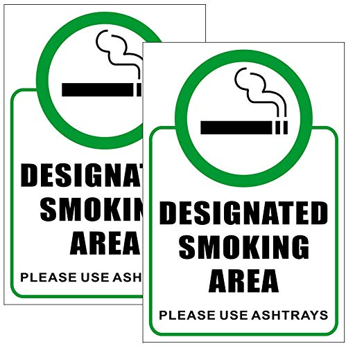 "Outdoor/Indoor (2 Pack) 6"" x 9"" - Designated Smoking Area, Please Use Ashtrays - Notice Caution Warning Sign Back Self Adhesive Vinyl Decal Label Sticker"