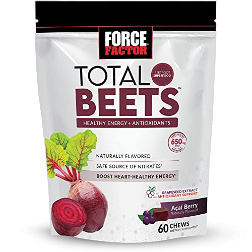 Force Factor Total Beets Soft Chews with Beetroot, Nitrates, L-Citrulline, Grapeseed Extract, and Antioxidants, Healthy Energy Supplement with Elite Ingredients for Heart, Superfood, 60 Count