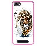 Hapdey silikon Hülle für [ Wiko Jerry - Lenny 3 - K-Kool ] Design [ Jaguar - Abbildung ] Rosa Flexibles TPU