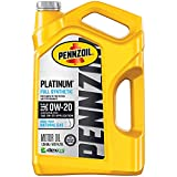 Pennzoil Platinum Full Synthetic Motor Oil (SAE, SN) 0W-20, 5 Quart - Pack of 1